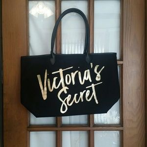 Victoria's Secret Large Tote Black and Gold